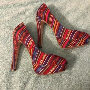 Multi-color high heel shoes